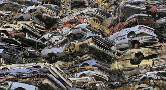Waste crushed cars