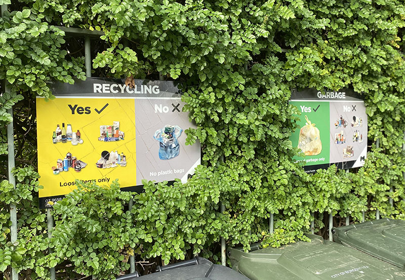 recycling and rubbish signs