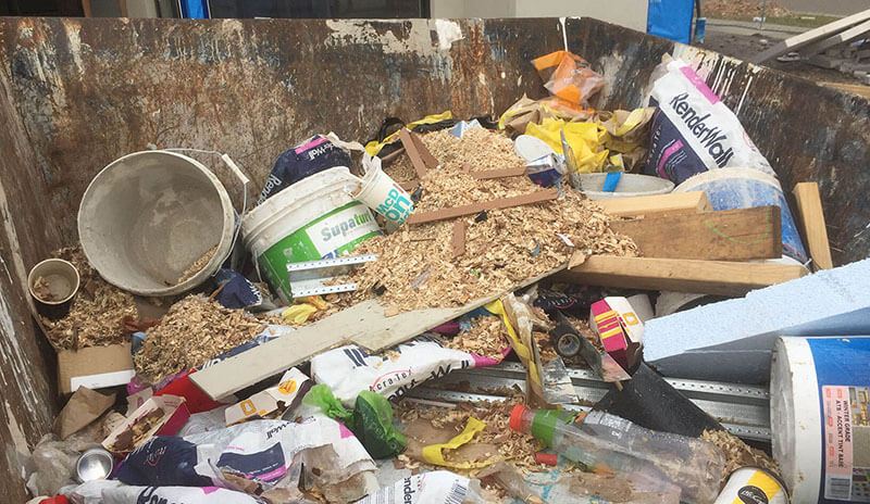 Unsorted construction waste